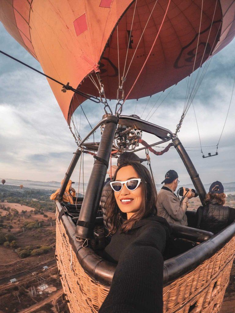 hot air balloon in bagan  bucket list blog