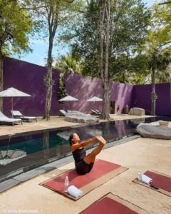 yoga by the pool at the barai