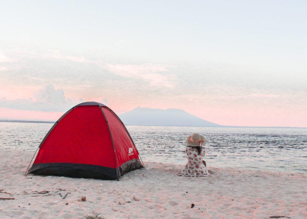 a girl enjoying free camping on great ocean road